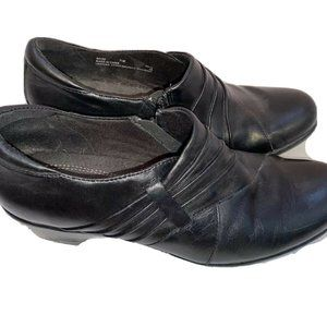 Clarks Black Leather Slip On Zipper Heel Shoes 7.5